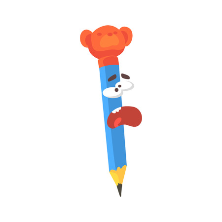 Blue cartoon pencil comic character screaming, humanized pencil with funny face vector Illustration
