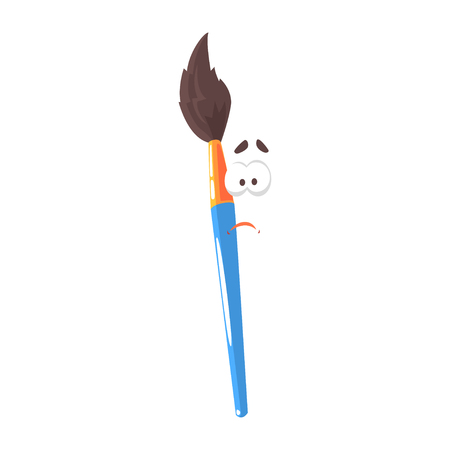 Blue cartoon paint brush comic character, humanized paintbrush with funny face vector Illustration Illustration