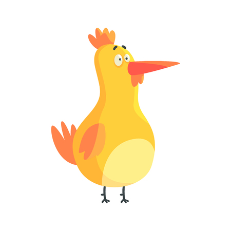 Cute yellow funny chicken standing colorful character vector Illustration Illustration