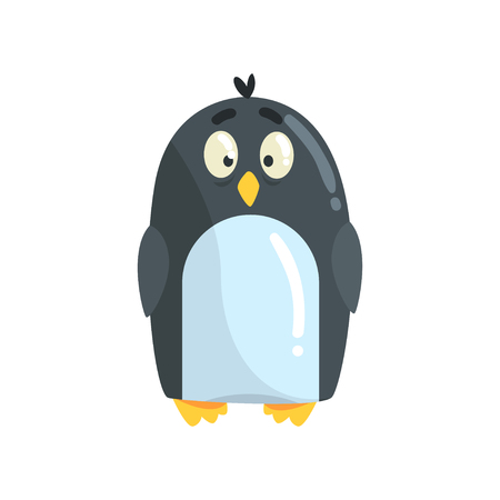 Cute little funny penguin chick character vector Illustration