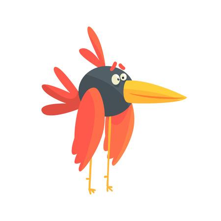 Cute little funny long legged bird colorful character vector Illustration Иллюстрация
