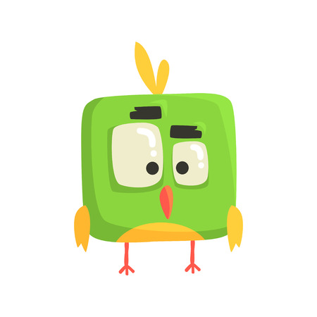 Cute little green funny chick bird square shape colorful character vector Illustration
