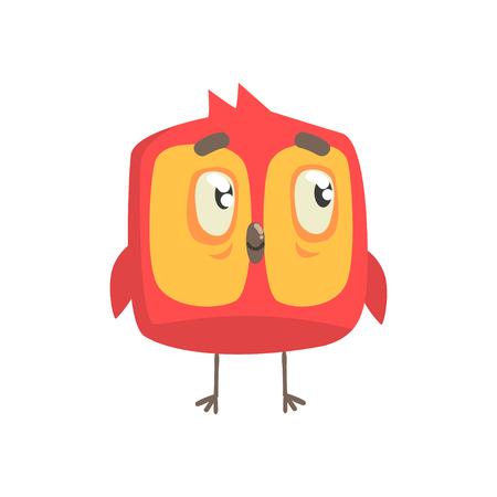 かわいい小さな赤い面白いひよこ鳥正方形文字ベクトル図  イラスト・ベクター素材