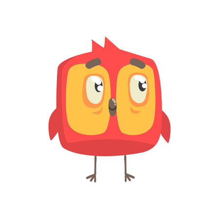 Cute little red funny chick bird square shape character vector Illustration