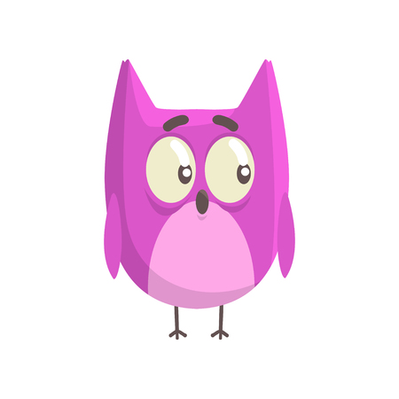 Cute little funny purple chick bird standing colorful character vector Illustration Иллюстрация