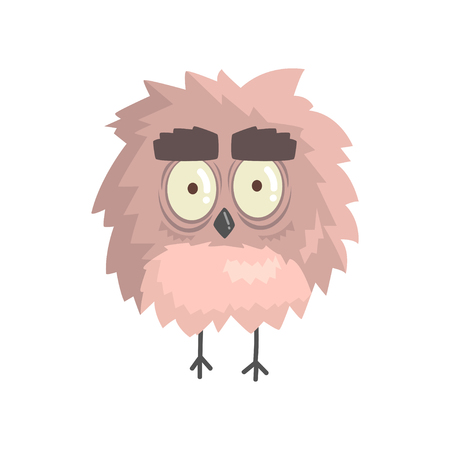 chick: Cute little funny fluffy owlet bird standing character vector Illustration
