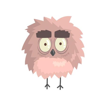 Cute little funny fluffy owlet bird standing character vector Illustration