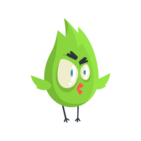 chick: Cute little green funny angry chick bird standing colorful character vector Illustration