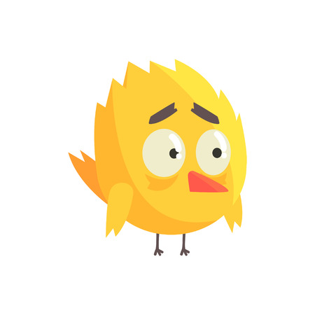 Cute little yellow upset chick bird standing character vector Illustration 向量圖像