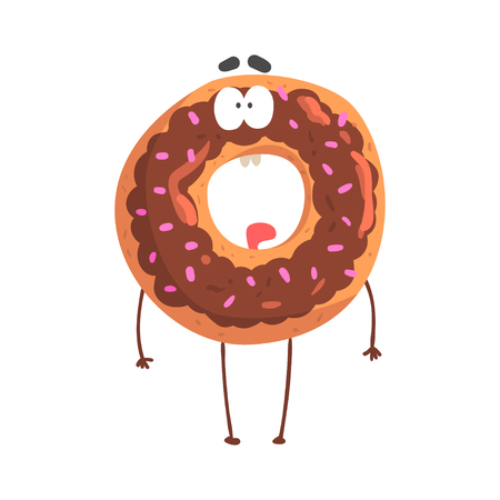 Cute donut character with chocolate glazing, cartoon funny dessert character vector Illustration
