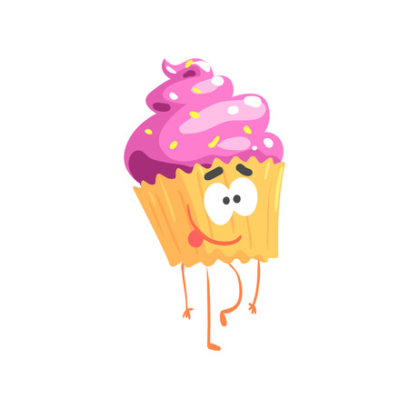 Cute sweet cupcake character, cartoon funny dessert vector Illustration