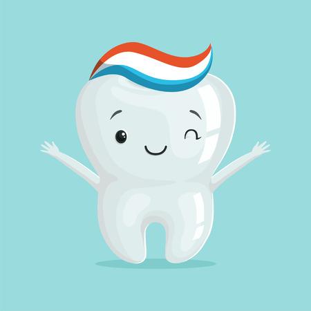 歯磨き粉、子供歯科コンセプトで健康的な白いキュート歯文字ベクトル イラスト