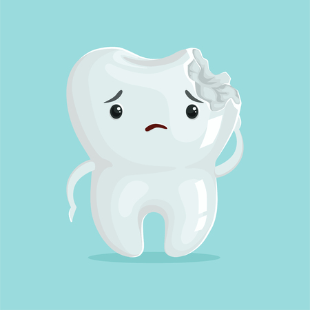 Nette traurige Hohlraum Karikatur Zahn Charakter, Kinderzahnheilkunde, Zahnpflege Konzept Vektor Illustration Standard-Bild - 84286666