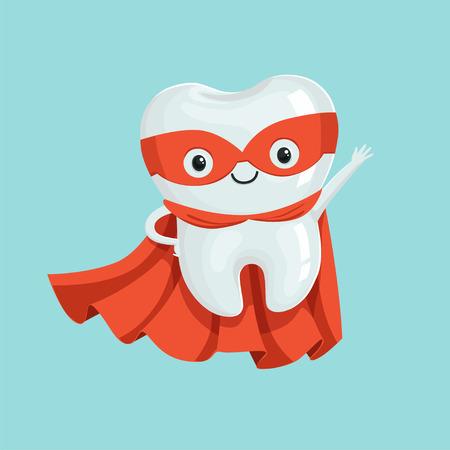 Leuk gezond de tandkarakter van beeldverhaalsuperhero, het concepten vectorillustratie van de kinderentandheelkunde