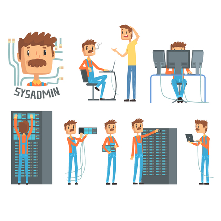 Sysadmin, network engineer characters, set of network diagnostics, users support and server maintenance cartoon vector Illustrations Illustration