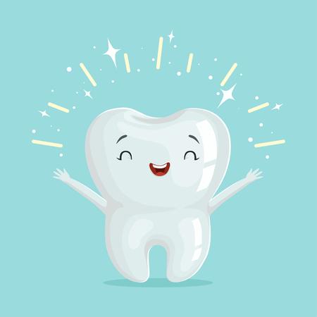 歯のかわいい健康的な光沢のある漫画のキャラクター、子供の歯科の概念ベクトル イラスト