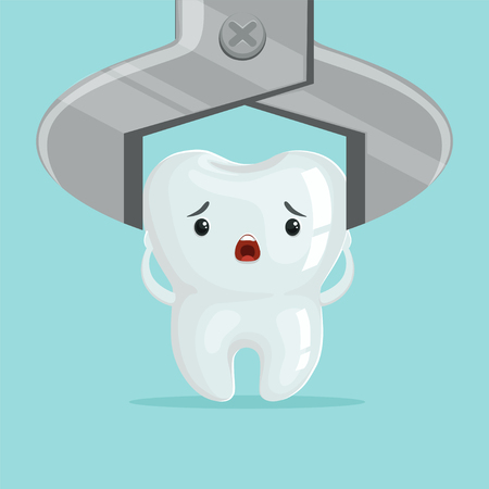 Sad cartoon tooth character extraction by dental forceps, childrens dentistry concept vector Illustration Stock fotó - 84285128