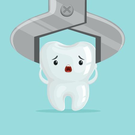 Traurige Karikaturzahncharakterextraktion durch zahnmedizinische Zangen, Kinderzahnheilkundekonzeptvektor Illustration Standard-Bild - 84285128