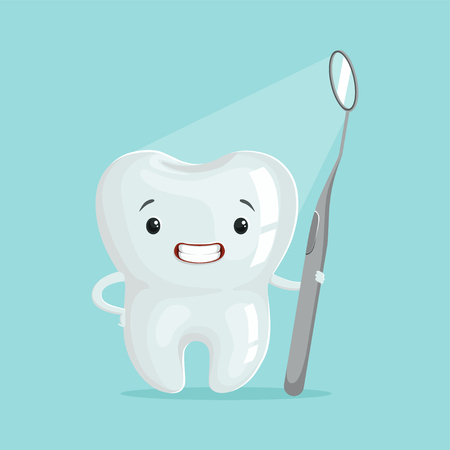 Cute cartoon tooth character with dental tool, childrens dentistry concept vector Illustration Illustration