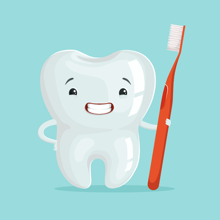 Cute healthy white cartoon tooth character with red toothbrush, childrens dentistry concept vector Illustration