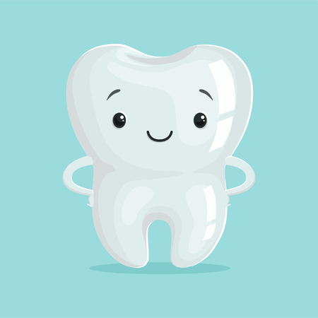 Cute healthy white cartoon tooth character, childrens dentistry concept vector Illustration
