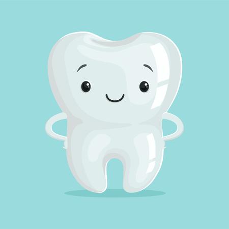 Netter gesunder weißer Karikaturzahncharakter, Zahnmedizinkonzept-Vektor Illustration der Kinder Standard-Bild - 84285138