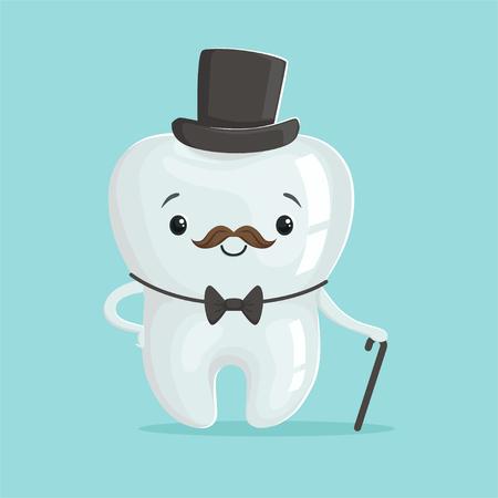 Netter gesunder weißer Karikaturzahn-Gentleman-Charakter, der schwarzen Spitzenhut, Zahnheilkundekonzeptvektor Illustration der Kinder trägt Standard-Bild - 84285135