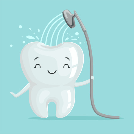 Cute smiling healthy white cartoon tooth character taking a shower, oral dental hygiene, childrens dentistry concept vector Illustration