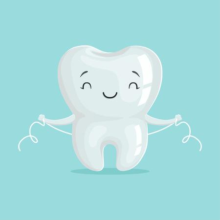 Carattere bianco sano sveglio del dente del fumetto che si pulisce con filo per i denti, igiene dentaria orale, illustrazione di vettore di concetto di odontoiatria dei bambini Archivio Fotografico - 84286724