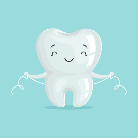 Cute healthy white cartoon tooth character cleaning itself with dental floss, oral dental hygiene, childrens dentistry concept vector Illustration