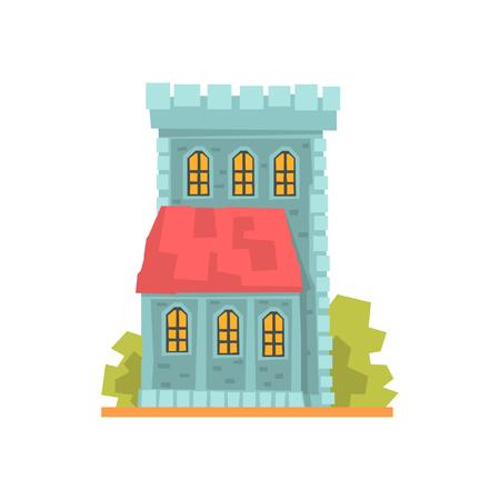 아치형 된 windows, 고 대 건축 건물 벡터 일러스트와 함께 오래 된 돌 집