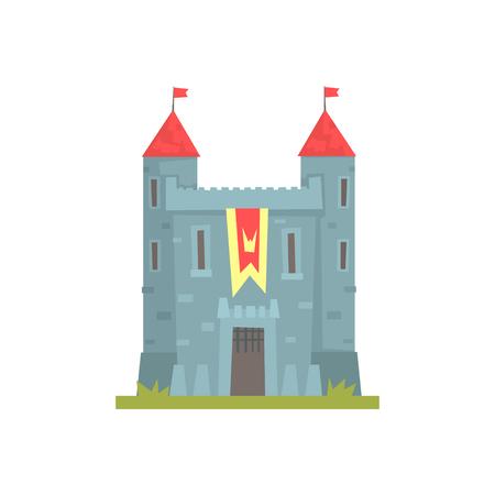 古い石造りの城の塔を持つ古代建築建物ベクトル図  イラスト・ベクター素材