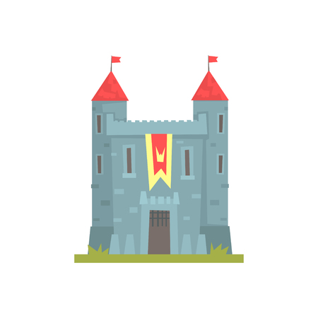 Old stone castle with towers, ancient architecture building vector Illustration