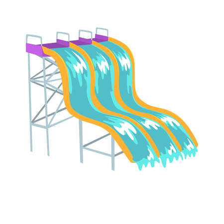 Water slides, aquapark equipment cartoon vector Illustration