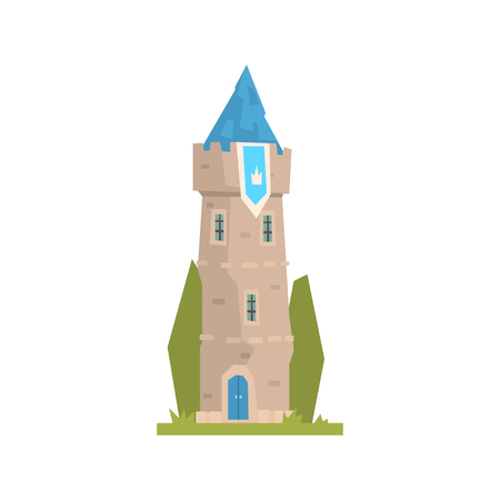 Old stone tower with blue pennant, ancient architecture building vector Illustration