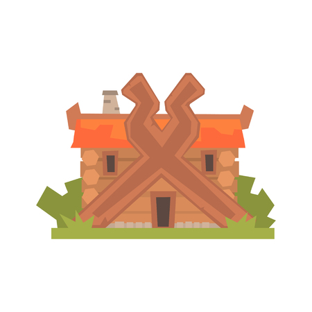 Ancient timbered log house vector Illustration