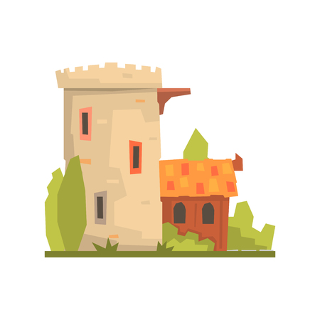 Old house and stone fortress tower, ancient architecture building vector Illustration on a white background