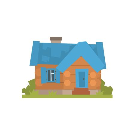 青い屋根のベクトル図と古代の木造丸太小屋  イラスト・ベクター素材
