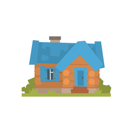 푸른 지붕 벡터 일러스트와 함께 고대의 목조 로그 통나무 집