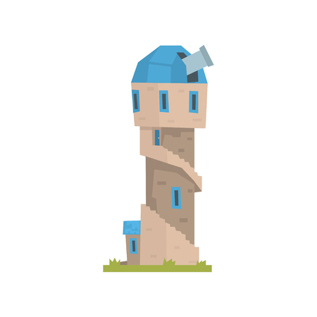 Old stone observatory tower, ancient architecture building vector Illustration