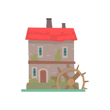 Old stone house and wooden water wheel, ancient architecture building vector Illustration