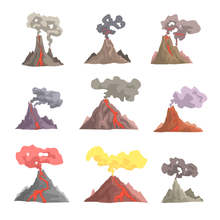 Volcano eruption set, volcanic magma blowing up, lava flowing down cartoon vector Illustrations Фото со стока - 84286787