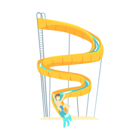 Yellow plastic slide, equipment for water park cartoon vector Illustration Stock Vector - 84286772