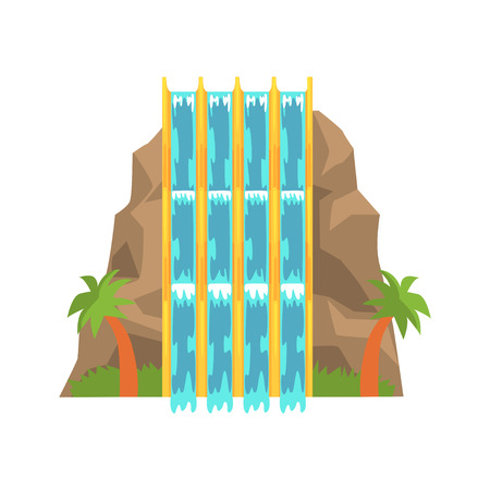 Water slides in the form of mountain, aquapark equipment cartoon vector Illustration