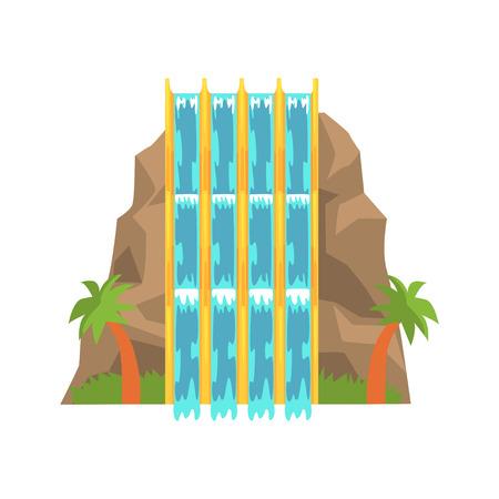 Water slides in the form of mountain, aquapark equipment cartoon vector Illustration Stock Vector - 84286773