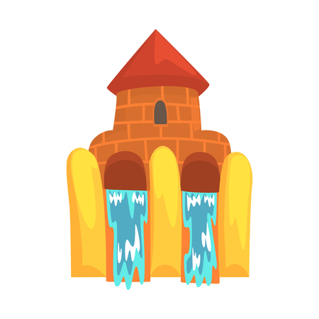 Water slides in the form of a castle, aquapark equipment cartoon vector Illustration Illustration