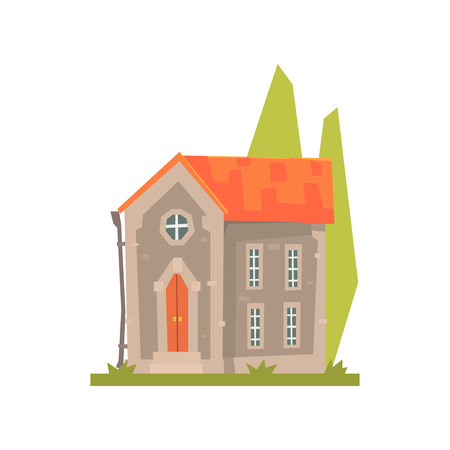 Old stone house with red roof, ancient architecture building vector Illustration on a white background Banco de Imagens - 84286795