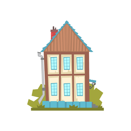 Old two storey house, retro architecture building vector Illustration Illustration