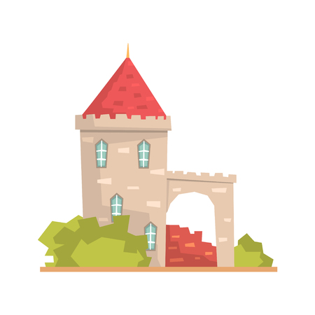 Old stone house tower, ancient architecture building vector Illustration