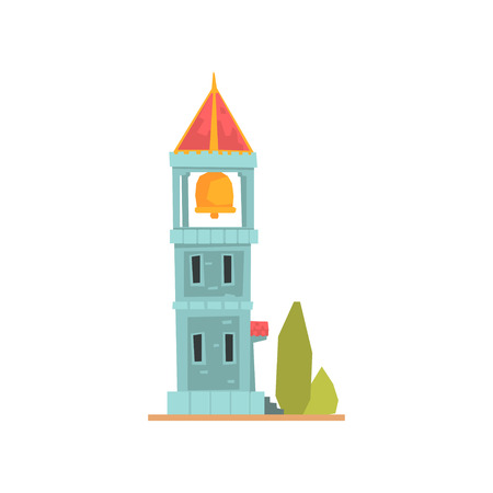 Old stone bell tower, ancient architecture building vector Illustration